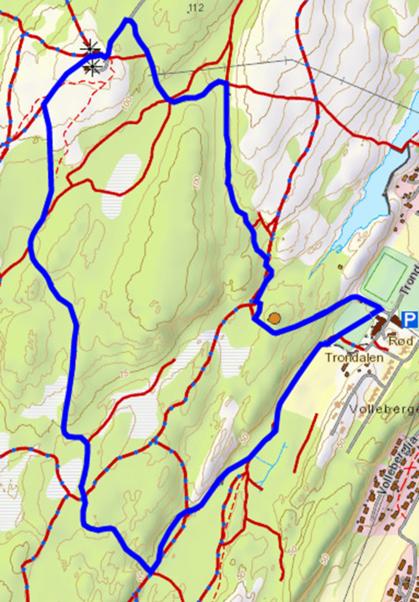 Traseen er den blå streken.