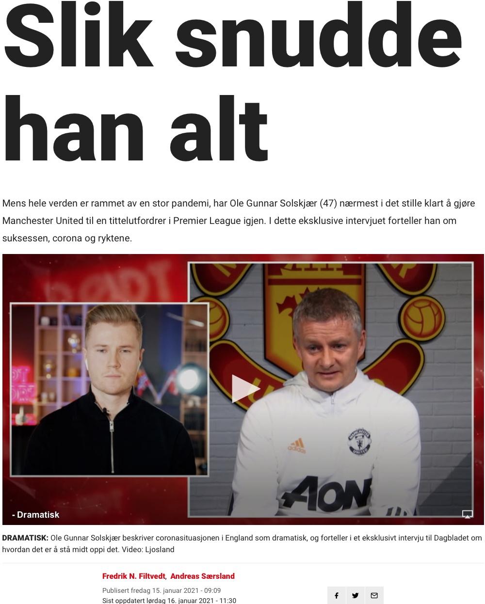Solskjær Dagbladet Slik snudde han alt.