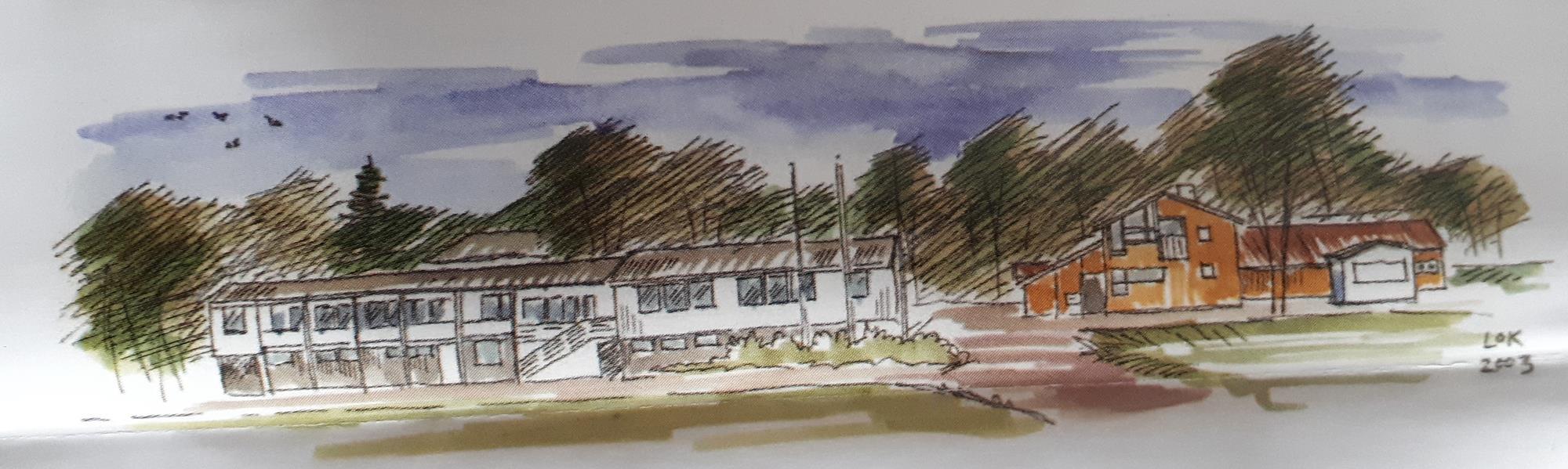 Klubbhuset tegnet av Lars Ole Klavestad 2003.